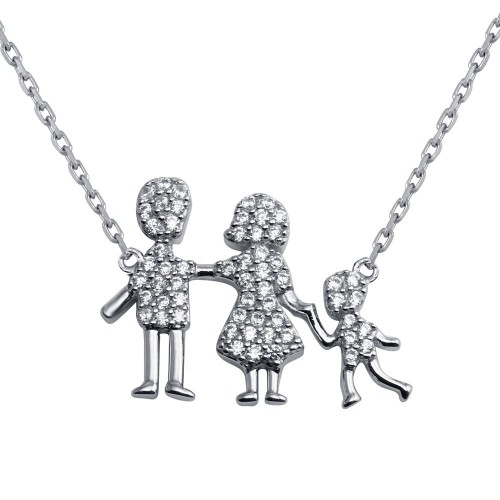 Wholesale Sterling Silver 925 Rhodium Plated CZ Mom, Dad, Baby Boy Family Necklace - GMN00040