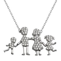 Wholesale Sterling Silver 925 Rhodium Plated CZ Mom, Dad, Baby Boy And Girl Family Necklace - GMN00041