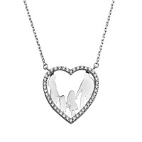 Wholesale Sterling Silver 925 Rhodium Plated Open CZ Heart Mom, Dad, Baby Boy And Girl Family Necklace - GMN00042