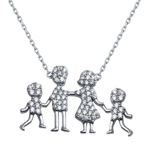 Wholesale Sterling Silver 925 Rhodium Plated Open CZ Heart Mom, Dad, Baby Boys Family Necklace - GMN00043