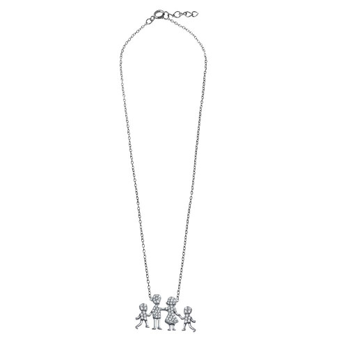 Wholesale Sterling Silver 925 Rhodium Plated Mom, Dad, Baby Boys Family Necklace - GMN00043