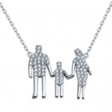 Wholesale Sterling Silver 925 Rhodium Plated Open CZ Heart Mom, Dad, And A Boy Family Necklace - GMN00044