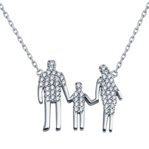 Wholesale Sterling Silver 925 Rhodium Plated Mom, Dad, And A Boy Family Necklace - GMN00044