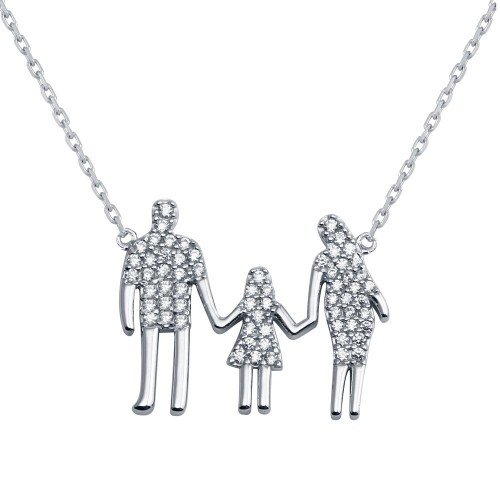 Wholesale Sterling Silver 925 Rhodium Plated Open CZ Heart Mom, Dad, And A Girl Family Necklace - GMN00045
