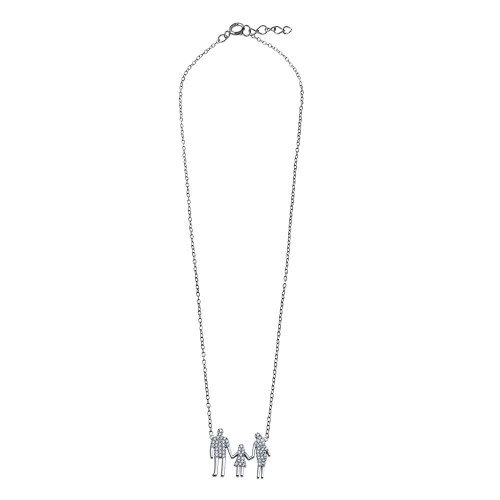Wholesale Sterling Silver 925 Rhodium Plated Mom, Dad, And A Girl Family Necklace - GMN00045