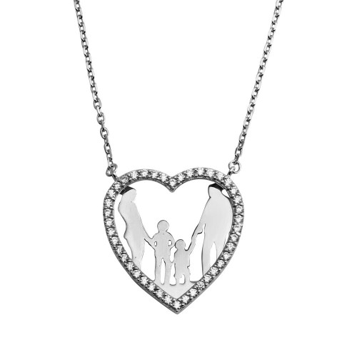 Wholesale Sterling Silver 925 Rhodium Plated Open CZ Heart Mom, Dad And 2 Baby Boys Family Necklace - GMN00046