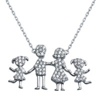 Wholesale Sterling Silver 925 Rhodium Plated Daughters and Parents Family Necklace - GMN00047
