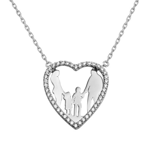Wholesale Sterling Silver 925 Rhodium Plated Open CZ Heart Mom, Dad And Baby Boy And Girl Family Necklace - GMN00048