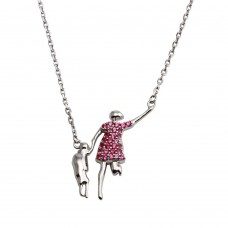 Wholesale Sterling Silver 925 Rhodium Plated Open Pink CZ Mom And Baby Family Necklace - GMN00049