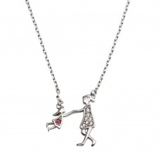 Wholesale Sterling Silver 925 Rhodium Plated Open CZ Playing Mom And Daughter Family Necklace - GMN00050