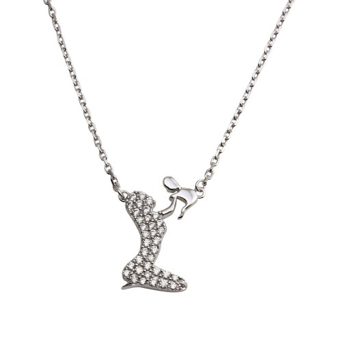 Wholesale Sterling Silver 925 Rhodium Plated Open CZ Playing Mom With Baby Family Necklace - GMN00051