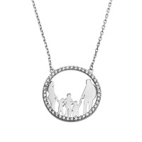 Wholesale Sterling Silver 925 Rhodium Plated Open CZ Heart Mom, Dad And All Boys Family Necklace - GMN00052