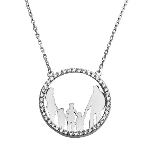 Wholesale Sterling Silver 925 Rhodium Plated Open CZ Circle Mom, Dad And A Boys, 2 Girls Family Necklace - GMN00053