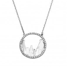 Wholesale Sterling Silver 925 Rhodium Plated Open CZ Heart Mom, Dad And All Girls Family Necklace - GMN00054