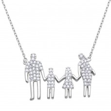 Wholesale Sterling Silver 925 Rhodium Plated Open Heart Mom, Dad, Daughter, and Son Family Necklace with CZ - GMN00059