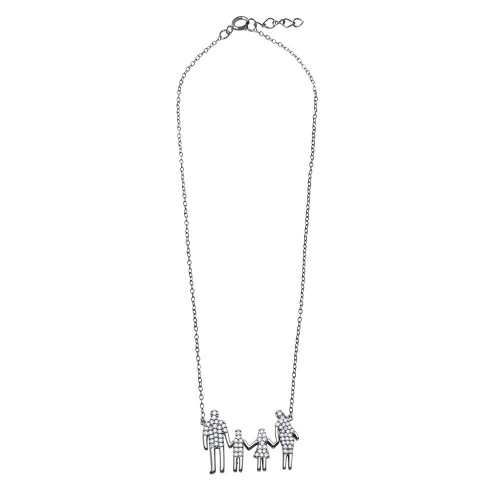 Wholesale Sterling Silver 925 Rhodium Plated Mom, Dad, Daughter, and Son Family Necklace with CZ - GMN00059