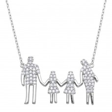 Wholesale Sterling Silver 925 Rhodium Plated Open Heart Mom, Dad, and 2 Daughters Family Necklace with CZ - GMN00060