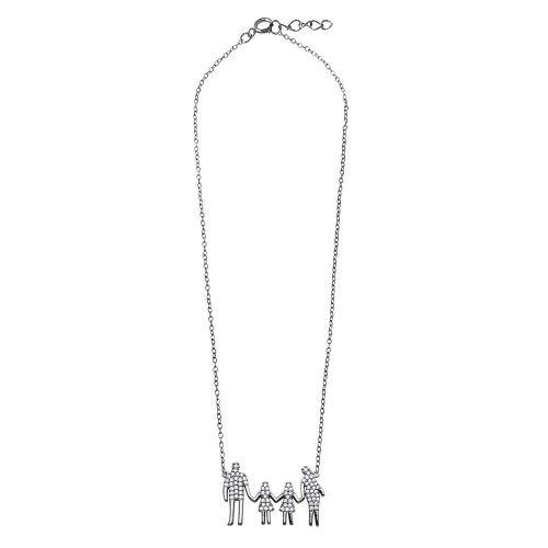 Wholesale Sterling Silver 925 Rhodium Plated Mom, Dad, and 2 Daughters Family Necklace with CZ - GMN00060