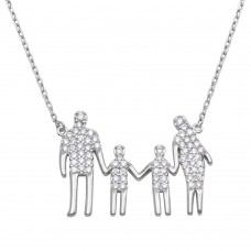 Wholesale Sterling Silver 925 Rhodium Plated Open Heart Mom, Dad, and 2 Sons Family Necklace with CZ - GMN00061