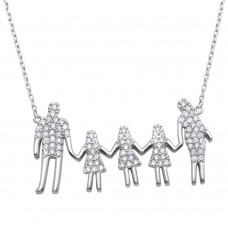 Wholesale Sterling Silver 925 Rhodium Plated Open Heart Mom, Dad, and 3 Daughters Family Necklace with CZ - GMN00062