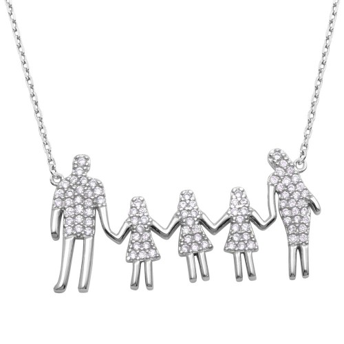Wholesale Sterling Silver 925 Rhodium Plated, Dad, and 3 Daughters Family Necklace with CZ - GMN00062
