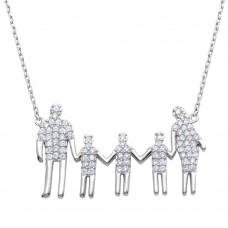 Wholesale Sterling Silver 925 Rhodium Plated Open Heart Mom, Dad, and 3 Sons Family Necklace with CZ - GMN00063