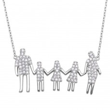 Wholesale Sterling Silver 925 Rhodium Plated Open Heart Mom, Dad, 2 Daughters and Son Family Necklace with CZ - GMN00064