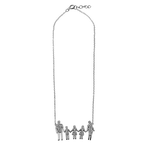 Wholesale Sterling Silver 925 Rhodium Plated Mom, Dad, 2 Daughters and Son Family Necklace with CZ - GMN00064