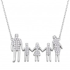 Wholesale Sterling Silver 925 Rhodium Plated Open Heart Mom, Dad, Daughter and 2 Sons Family Necklace with CZ - GMN00065