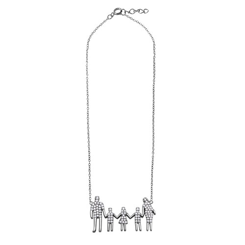 Wholesale Sterling Silver 925 Rhodium Plated Mom, Dad, Daughter and 2 Sons Family Necklace with CZ - GMN00065