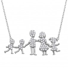 Wholesale Sterling Silver 925 Rhodium Plated Open Heart Mom, Dad, Daughter and 2 Sons Family Necklace with CZ - GMN00066