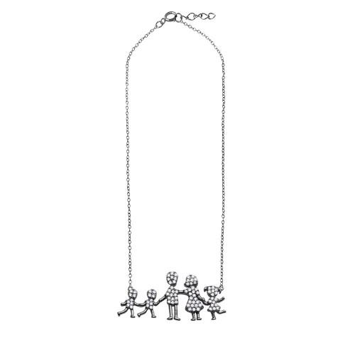 Wholesale Sterling Silver 925 Rhodium Plated Mom, Dad, Daughter and 2 Sons Family Necklace with CZ - GMN00066