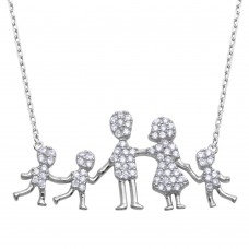 Wholesale Sterling Silver 925 Rhodium Plated Open Heart Mom, Dad, and 3 Sons Family Necklace with CZ - GMN00067