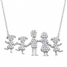 Wholesale Sterling Silver 925 Rhodium Plated Open Heart Mom, Dad, and 3 Daughters Family Necklace with CZ - GMN00068