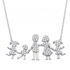 Wholesale Sterling Silver 925 Rhodium Plated Open Heart Mom, Dad, 2 Daughters, and Son Family Necklace with CZ - GMN00069