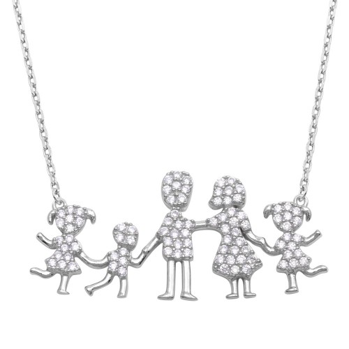 Wholesale Sterling Silver 925 Rhodium Plated Mom, Dad, 2 Daughters, and Son Family Necklace with CZ - GMN00069