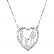 Wholesale Sterling Silver 925 Rhodium Plated Mom, Dad, and Son Open Heart Family Necklace - GMN00070