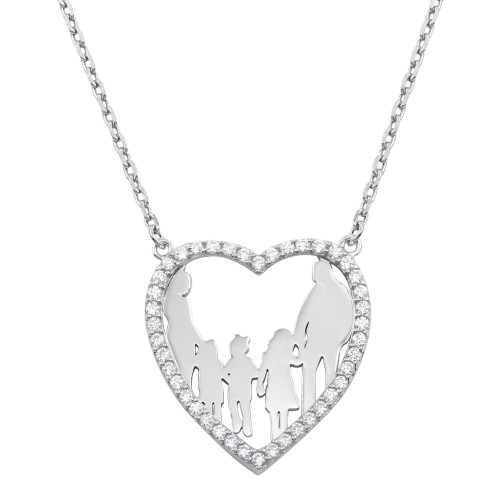 Wholesale Sterling Silver 925 Rhodium Plated Mom, Dad, and 3 Daughters Open Heart Family Necklace with CZ - GMN00071