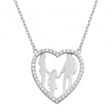 Wholesale Sterling Silver 925 Rhodium Plated Mom, Dad, and Daughter Open Heart Family Necklace with CZ - GMN00072