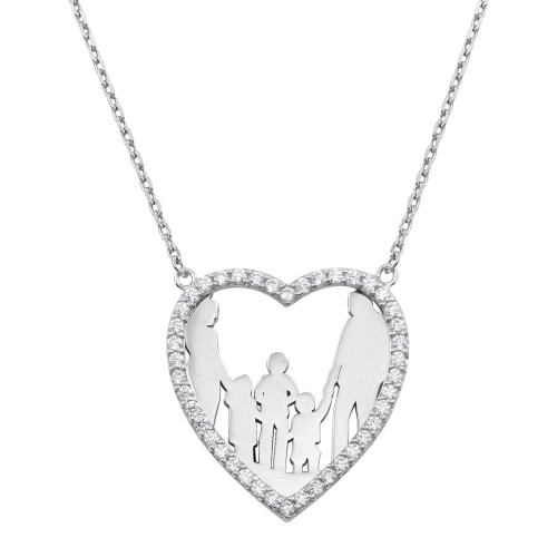 Wholesale Sterling Silver 925 Rhodium Plated Mom, Dad, 2 Sons, and Daughter Open Heart Family Necklace with CZ - GMN00073