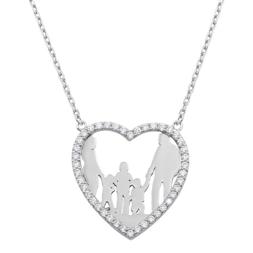 Wholesale Sterling Silver 925 Rhodium Plated Mom, Dad, and 3 Sons Open Heart Family Necklace with CZ - GMN00074