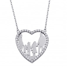 Wholesale Sterling Silver 925 Rhodium Plated Open Heart Mom, Dad, 2 Daughters, and Son Family Necklace with CZ - GMN00075