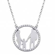 Wholesale Sterling Silver 925 Rhodium Plated Mom, Dad, and Son Round Family Pendant with CZ - GMN00076