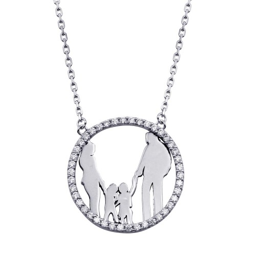 Wholesale Sterling Silver 925 Rhodium Plated Open CZ Heart Mom, Dad, and 2 Sons Heart Family Necklace with CZ - GMN00075