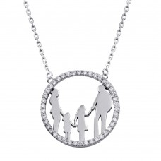 Wholesale Sterling Silver 925 Rhodium Plated Mom, Dad, and 2 Daughters Round Family Pendant with CZ - GMN00078