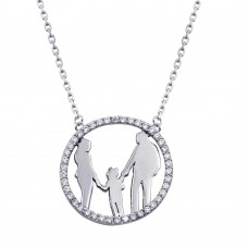 Wholesale Sterling Silver 925 Rhodium Plated Mom, Dad, and Daughter Round Family Pendant with CZ - GMN00079