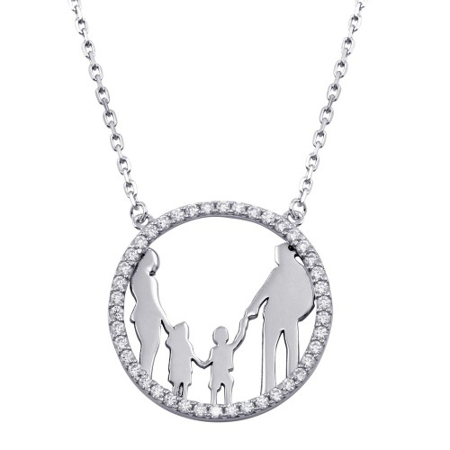 Wholesale Sterling Silver 925 Rhodium Plated Mom, Dad, Son, and Daughter Round Family Pendant with CZ - GMN00080