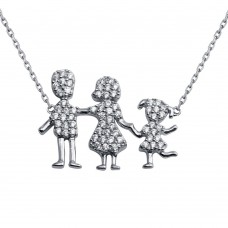 Wholesale Sterling Silver 925 Rhodium Plated Daughter and Parents Family Necklace - GMN00081
