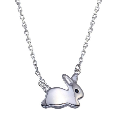 Wholesale Sterling Silver 925 Rhodium Plated Rabbit Necklace - GMN00082
