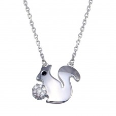 Wholesale Sterling Silver 925 Rhodium Plated Squirrel Necklace - GMN00083